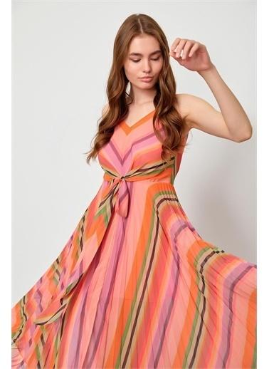 Setre Mavi Piliseli Diz Altı Elbise Oranj